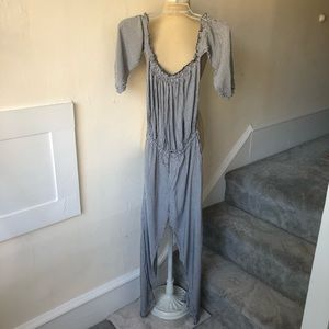 Boujee Off the Shoulder Pinstripe Jumpsuit NWT